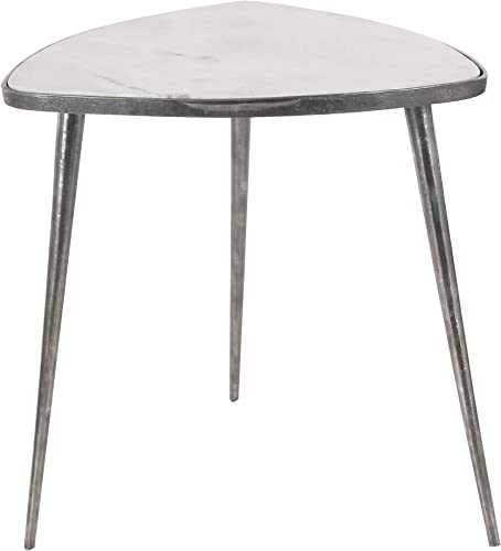 Deco 79 20 21 Aluminum And Marble Accent Table, 20 x 21 , Gray White