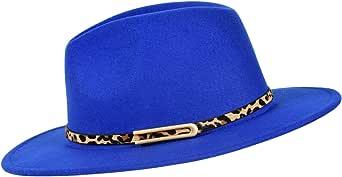 besbomig Sombrero de Jazz Fedora Trilby Cap de Fieltro de Moda para Mujer Hombre Gorra de ala Ancha para Viaje Fiesta Compras