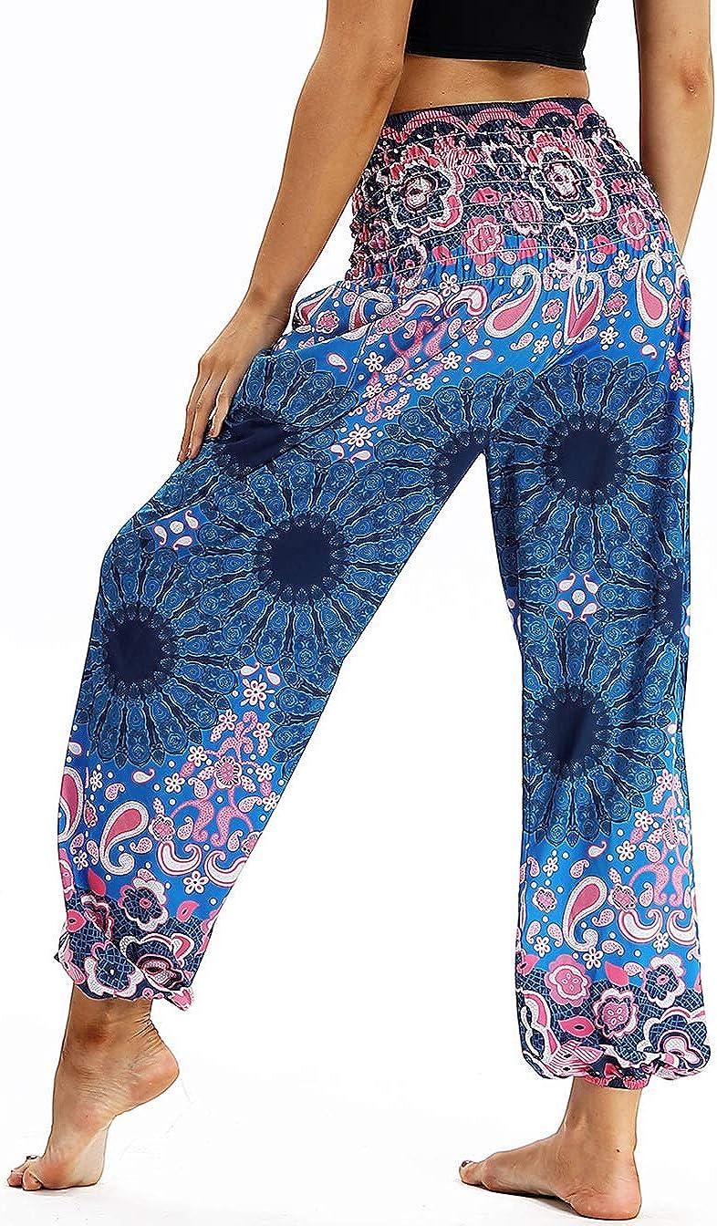 AviviRuth Womens Rayon Print Smocked Waist Harem Pants Boho Yoga Hippie Pants