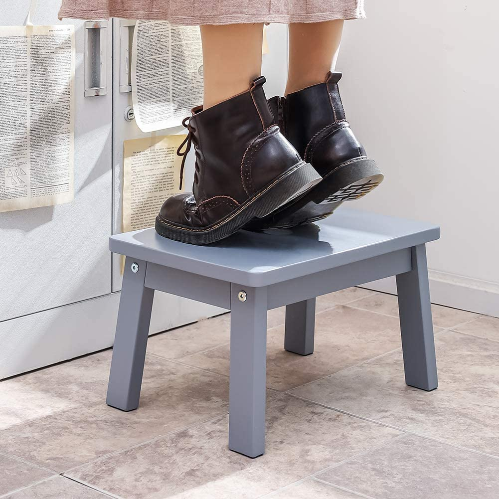 HOUCHICS Solid Birch High Gloss Step Stool Wooden Kids Potty Training Stool with 220lb Load Capacity Foot Stool for Kitchen,Bedroom,Living Room,Bathroom (Gray): Furniture & Decor