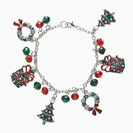 Christmas Jewelry.Christmas Jewelry Ladies Lead Free Holiday Charm Bracelet With Dangling Wreaths