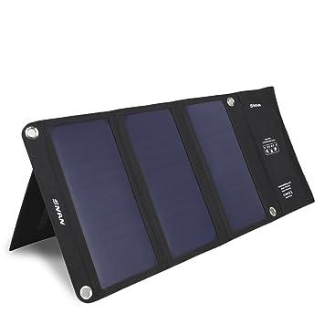 SNAN Cargador de Solar Plegable, 21W con 2 Puertos USB para Cargar Teléfonos Inteligentes Samsung Galaxy S6, Note 5, iPhone 6, iPhone 6s, iPad, LG G3, ...