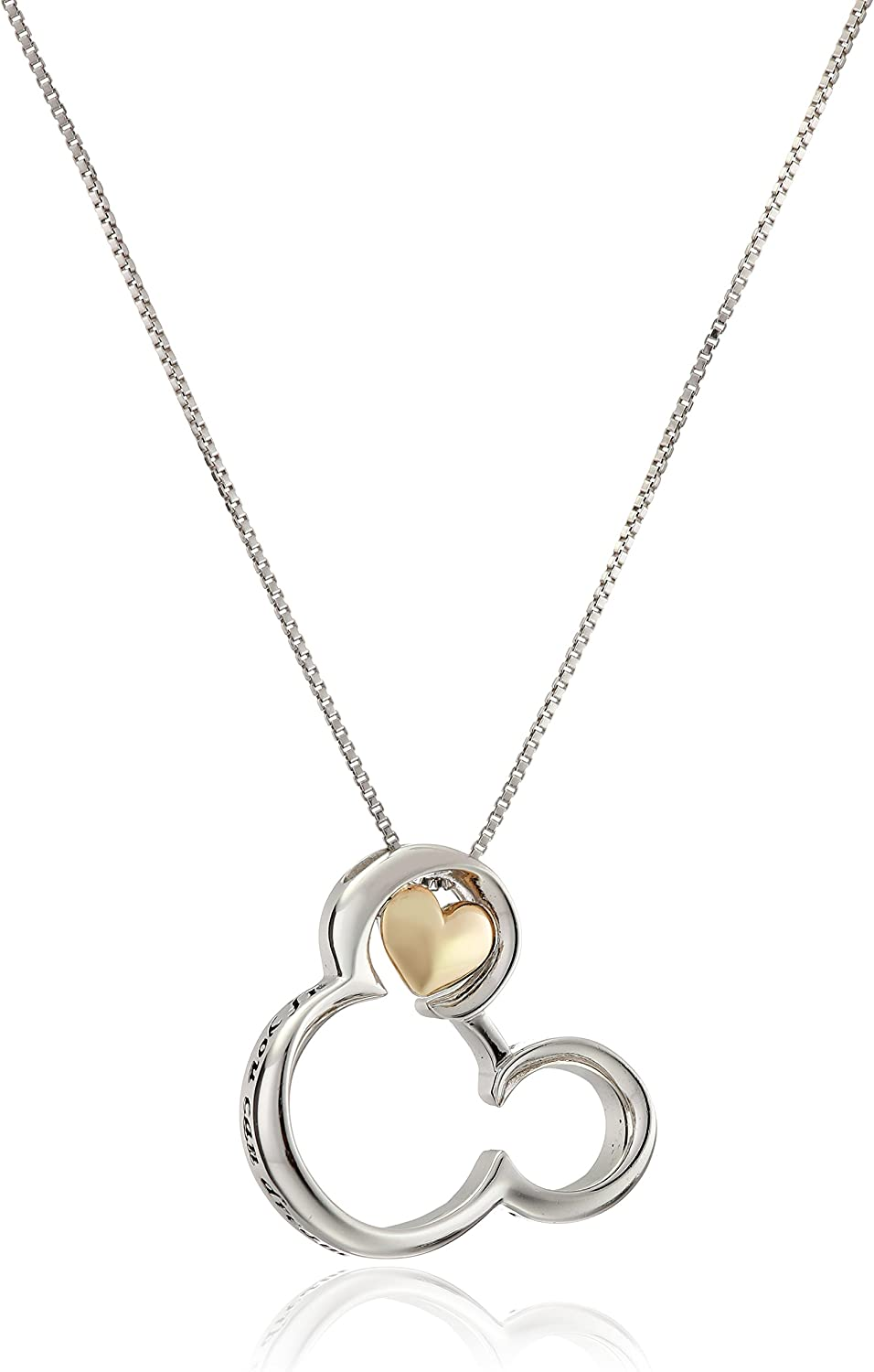 """Disney Sterling Silver and 10k Gold Mickey Mouse """"If you Can Dream It you Can Do It"""" Pendant Necklace"""