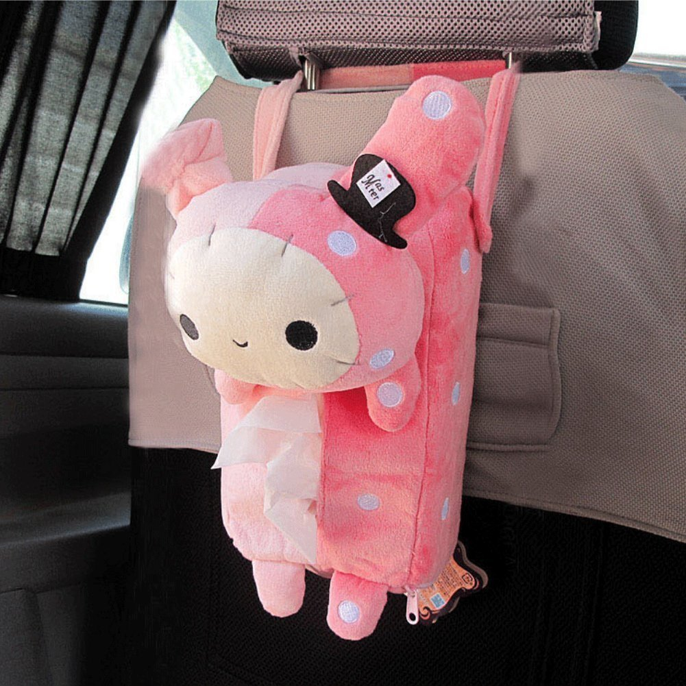 Urparcel Cute Soft Pink Plush Master Rabbit Tissue Box Cover Car Accessories Home Decor TETC ZJH03