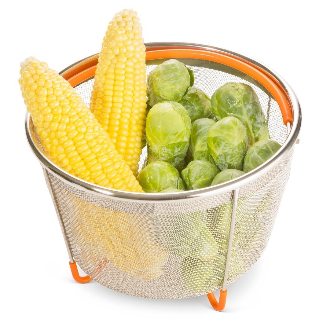 Seyonn Instant Pot, Electric Pressure Cooker Steamer Basket 5,6,8 qt - Stainless Steel Mesh Colander Strainer - Crockpot, Slow Cook Accessory Insert - Food Steamer With Handle, Feet - Steaming Basket