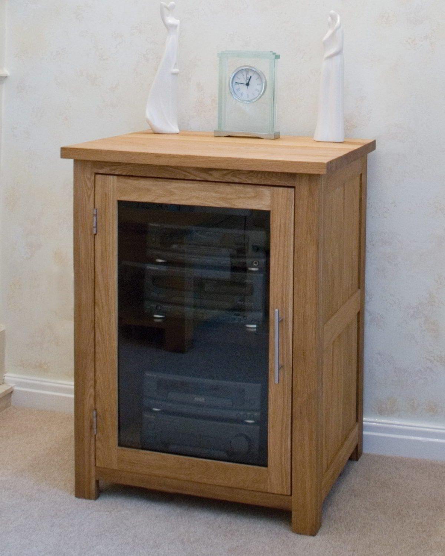 Eton solid oak furniture hi-fi storage cabinet cupboard unit ...