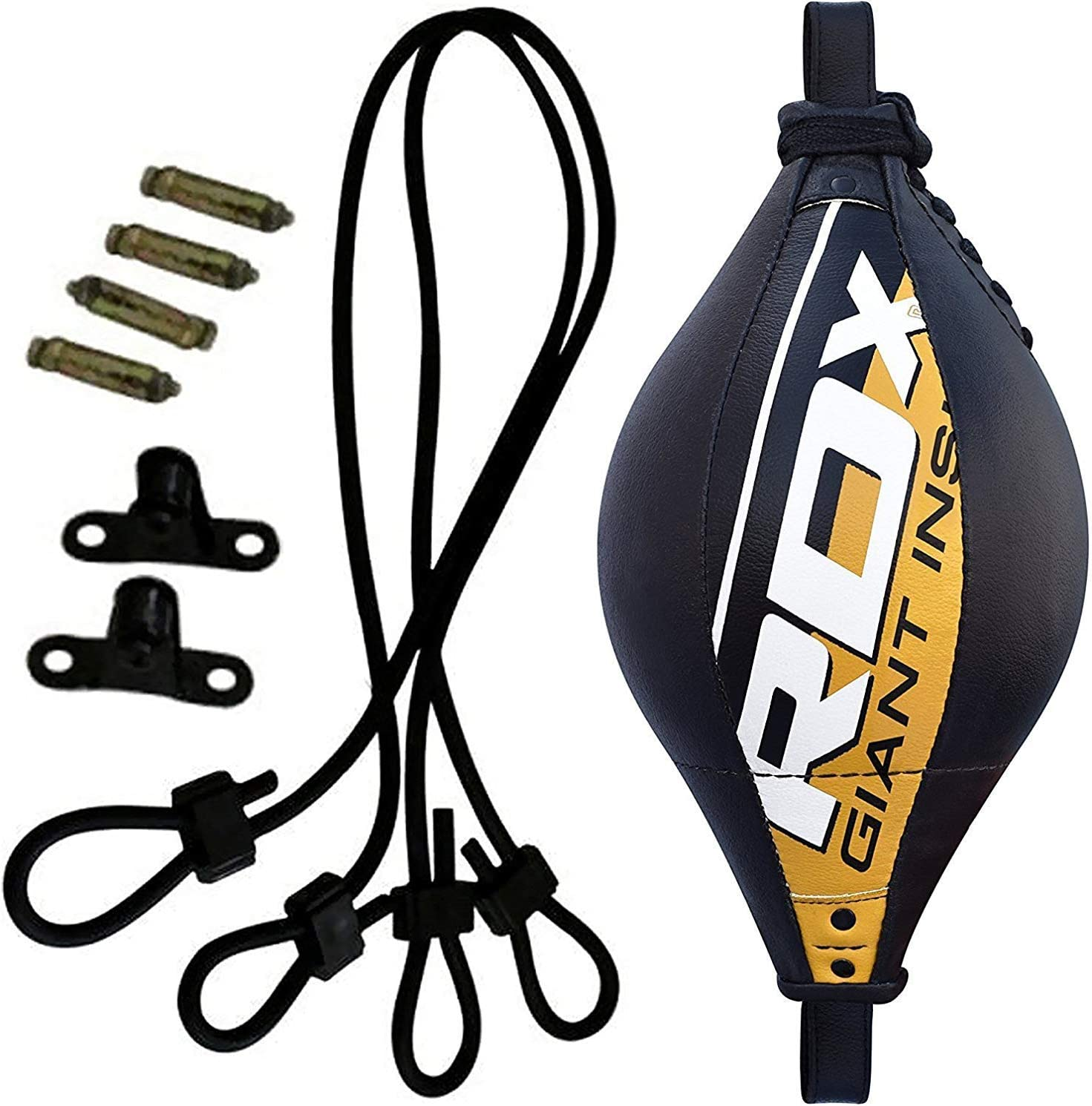 RDX Double End Speed Ball Bag Maya Hide Leather Boxing Floor to Ceiling Rope MMA Training Muay Thai Punching Dodge Striking Speed Ball Kit Workout Adjustable Bungee Cord