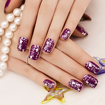 Amazon.com : ArtPlus 24pcs Silver Purple Garden Metallic False Nails French Manicure Full Cover Medium Length with Glue Fake Nails : Beauty