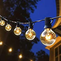 Joomer Outdoor String Lights, 25Ft G40 Globe Patio Lights with 27 Glass Bulbs(2 Spare), UL Listed Waterproof Connectable…