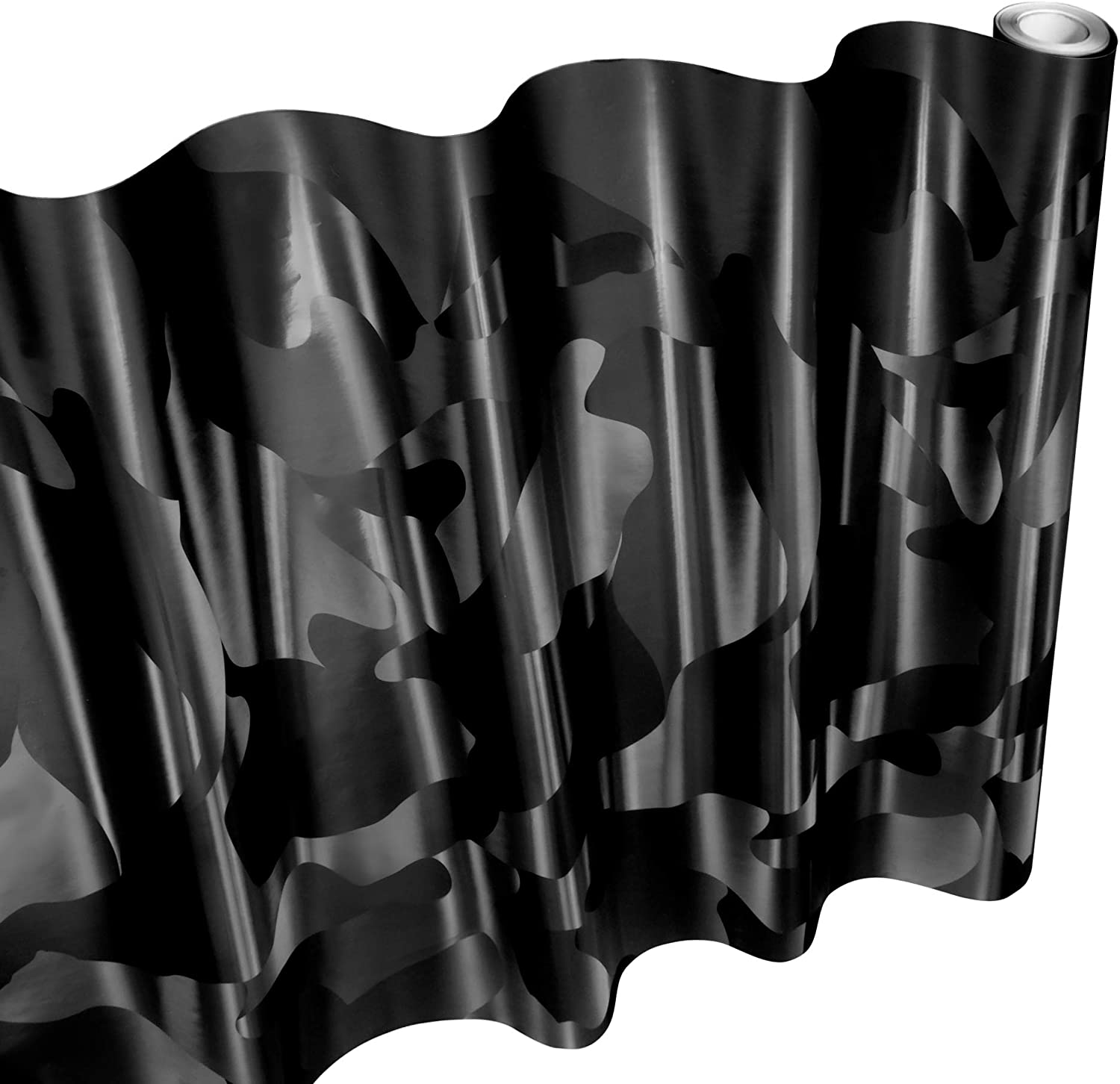 Scratch Resistance VViViD+ 2020 Edition Black Stealth Large Sized Pattern Camouflage Vinyl Car Wrap Roll Bubble-Free Self Adhesive Film Air Release Technology Protective Liner 1ft x 5ft