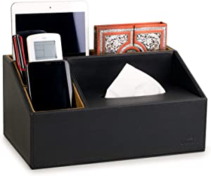 """LAMOTI Leather Desk Organizer with a 4"""" Coaster, Large Capacity Desktop Unifier with Tissue Box Compartment, Handcrafted (Black)"""