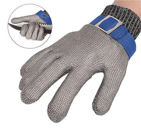 ThreeH Guantes de protección de seguridad Guantes de malla de acero inoxidable para cortar guantes de trabajo GL09 M(1 pieza)