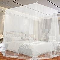 opamoo Moskitonetz Großes Moskitonetz Quadratische Moskitonetze für Doppelbetten Fliegennetz Mückennetz, Weiß