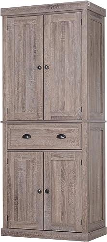 HOMCOM 72″ Traditional Freestanding Kitchen Pantry Cupboard