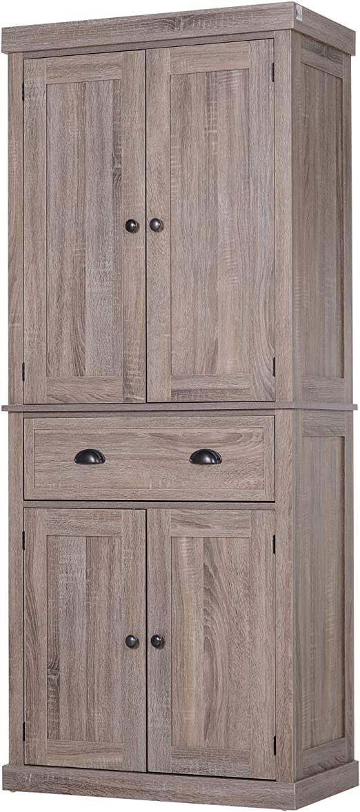Homcom 72 5 H Traditional Freestanding Kitchen Pantry Cabinet