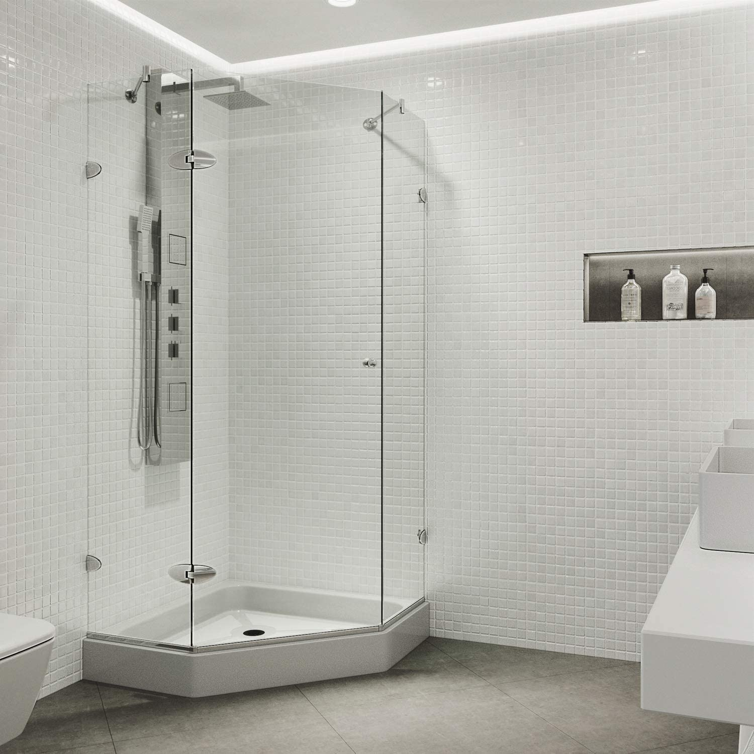 VIGO VG6061CHCL42W Verona 42 x 42 inch Clear Glass Corner Frameless Neo-Angle Shower Enclosure, Hinged Shower Door with Magnalock Technology, Non-Slip White Base, and 304 Stainless-Steel Shower Hardware in Chrome Finish
