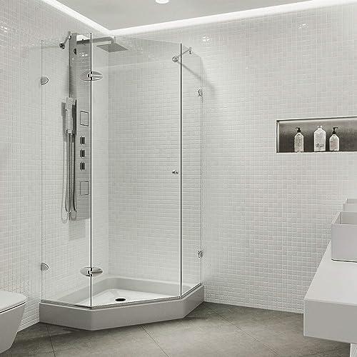 Basco Deluxe 22.75- 24.5 in. Width, Glass Shower Door, Clear Glass, Silver Finish