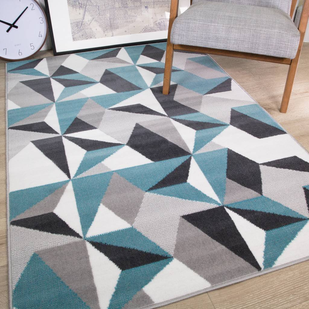 Milan Grey Silver Cream Duck Egg Blue Kaleidoscope Geometric Modern Traditional Living Room Rug The Rug House