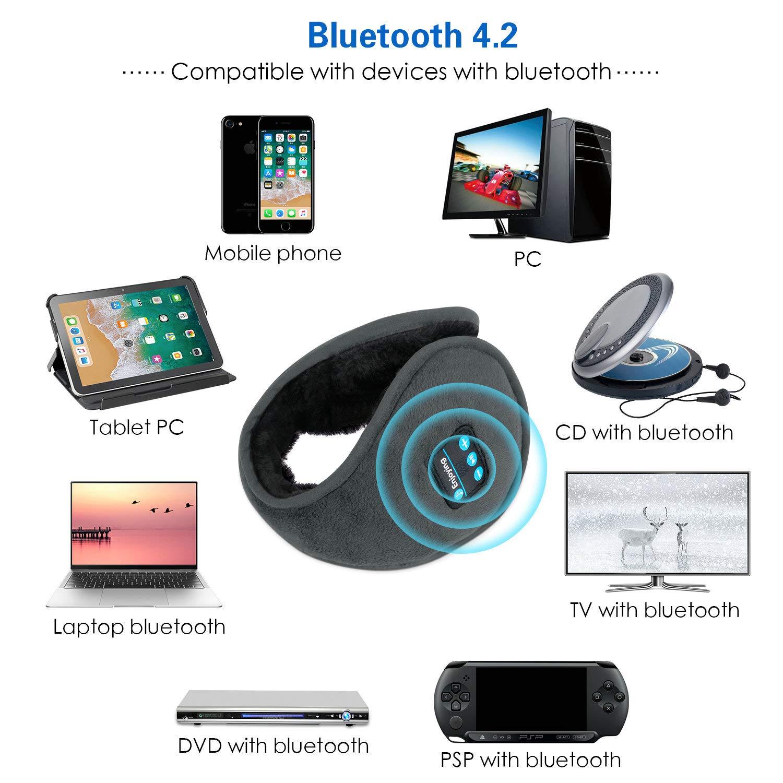 ZUMUSEN Wireless Earmuffs Headphones Bluetooth Music Ear Muffs Headset (Grey)