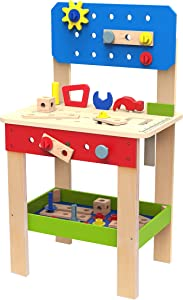 TOYSTER'S Wooden Tool Set and Workbench Station for Toddlers | Standup Work Shop Construction Work Bench Playset | Educational Learning Building Play Toys for Kids