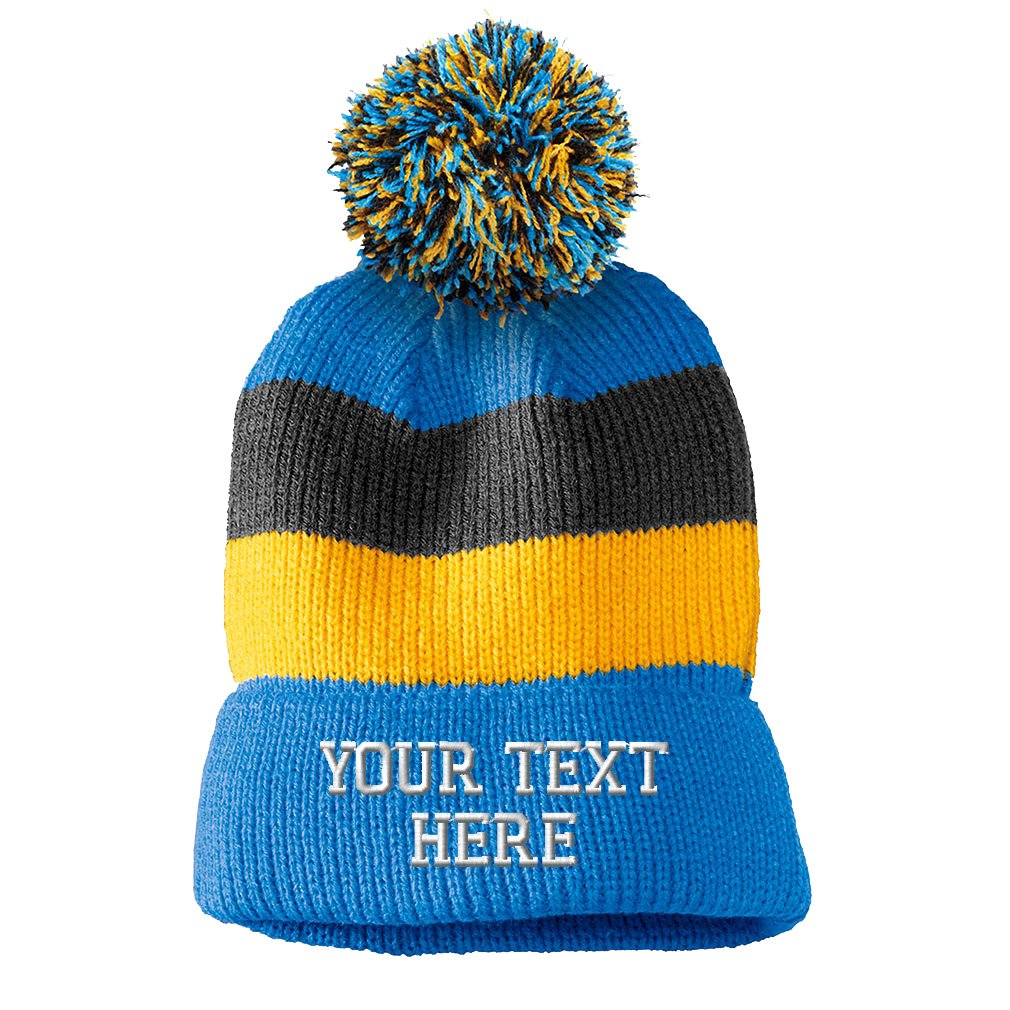 Personalize Your Custom Text On Vintage Striped Removable Pom Pom Beanie One Size CUST_BNVSP_001_BM