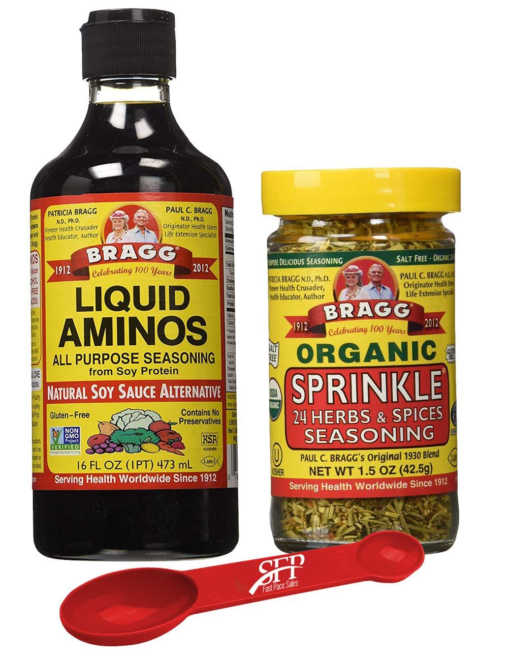 Bragg's Organic Variety Pack for Cooking: Bragg Organic Liquid Aminos 16 Oz + Bragg's Sprinkle Seasoning Blend - 24 Herb & Spices, 1.5 Oz