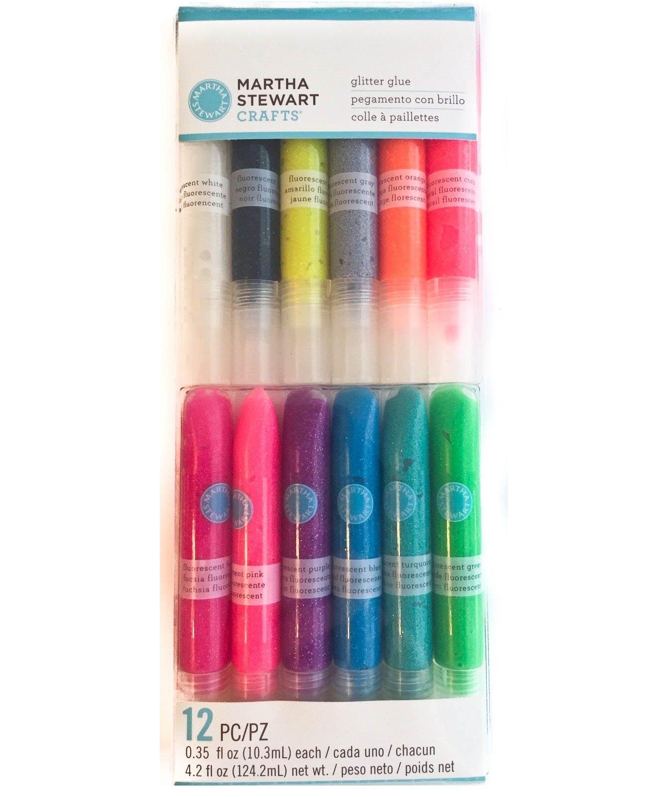 Martha Stewart Crafts Neon Glitter Glue Set, 12 per pack
