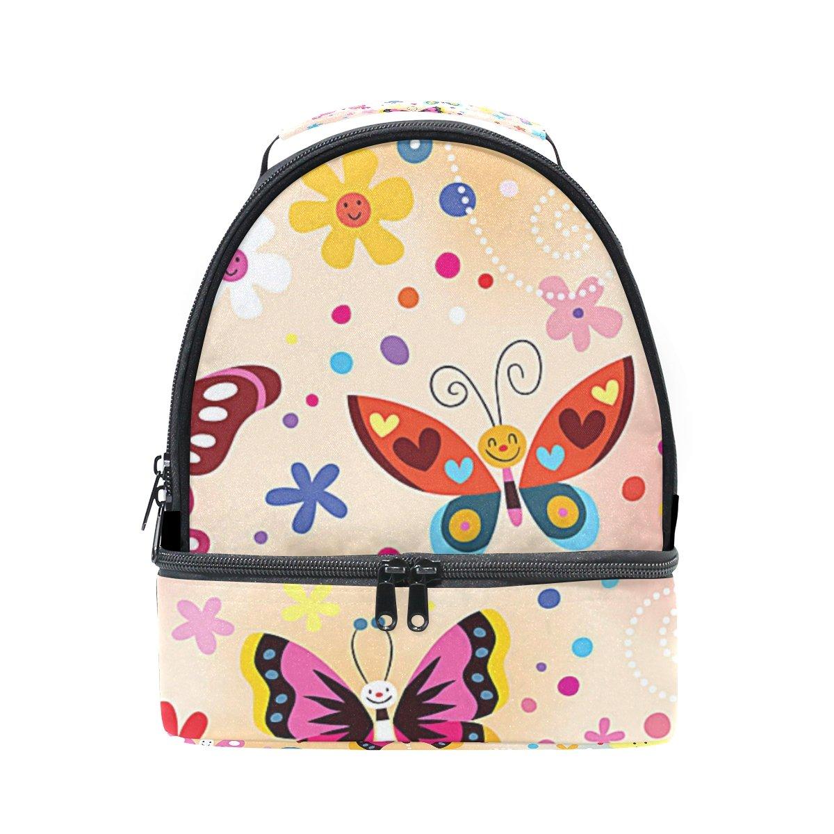 Insulated Lunchバッグキュートバタフライ花絵文字の女性キッズ用ガールズアウトドアキャンプ学校 B07DR936QF