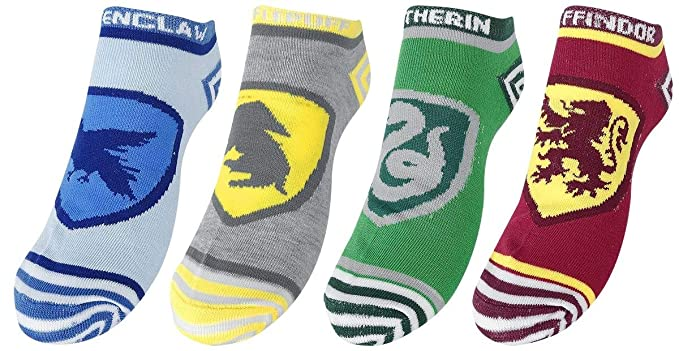 40cfa4048fc48 Harry Potter 4 Pack Hogwarts Houses Ankle Socks  Amazon.co.uk  Clothing