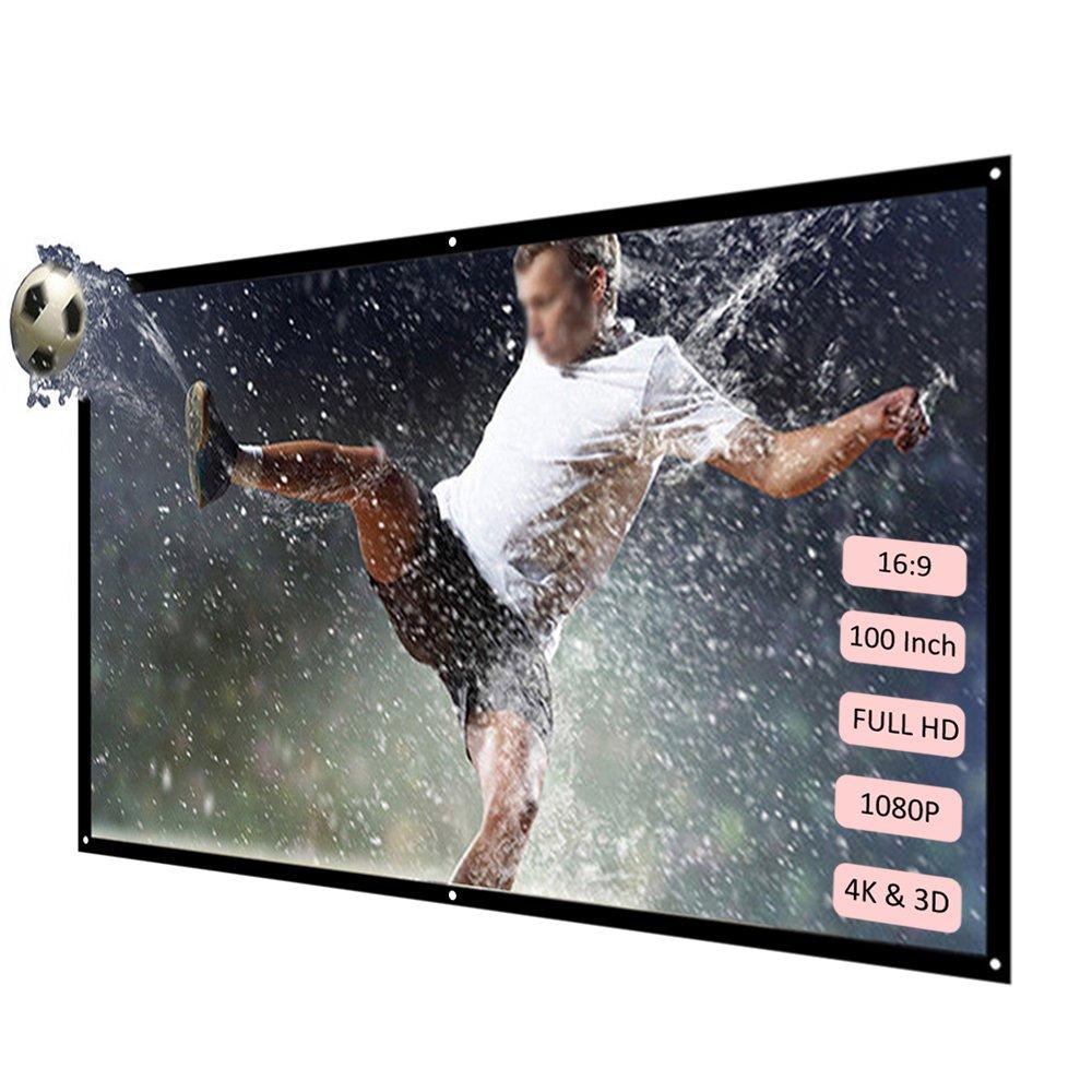 Docooler H100 100 Pantalla de proyección portátil HD 16: 9 Blanco 100 Pulgadas Pantalla para proyección Diagonal Teatro Doméstico Plegable para Wall ...