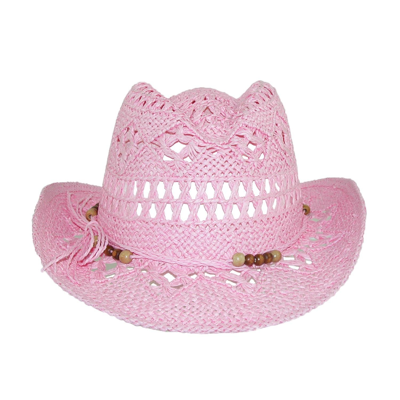 CTM Girls' Straw Beaded Trim Cowgirl Western Hat, Light Pink