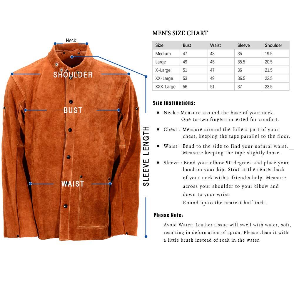 QeeLink Leather Welding Work Jacket Flame-Resistant Heavy Duty Split Cowhide Leather (Large) Brown by QeeLink (Image #1)
