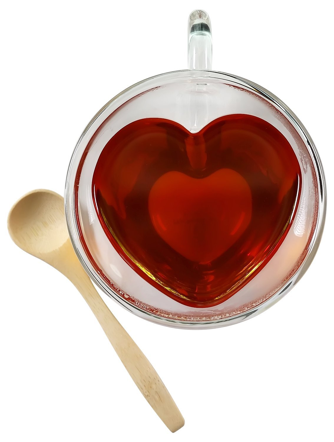 Tea Cup Heart Shaped Double Wall Insulated Clear Glass Tea and Coffee Cup 8.5 Ounces with Bamboo Teaspoon by Princeton Wares (1)