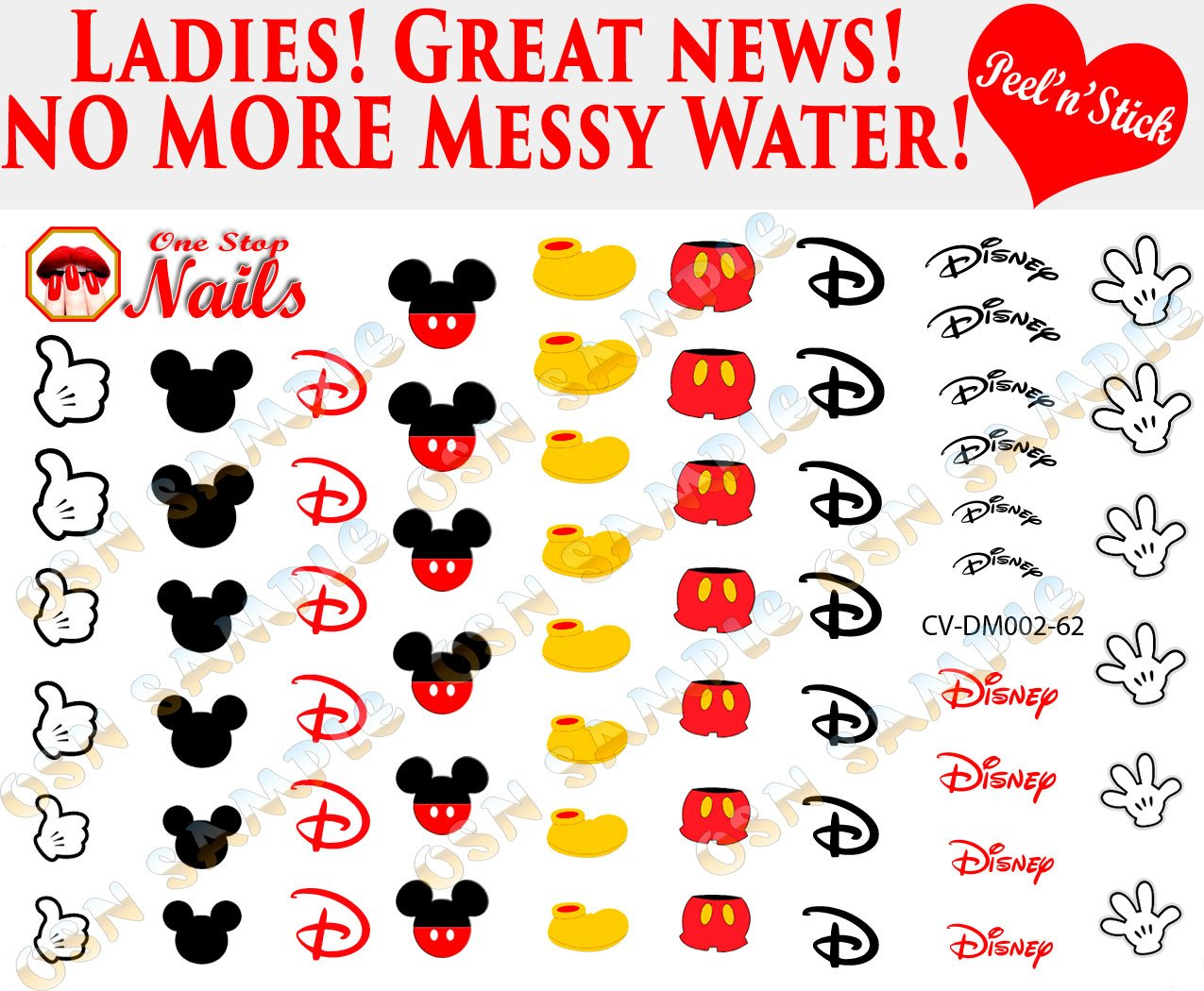 Disney mickey mouse clear vinyl peel and stick not waterslide nail decals stickers
