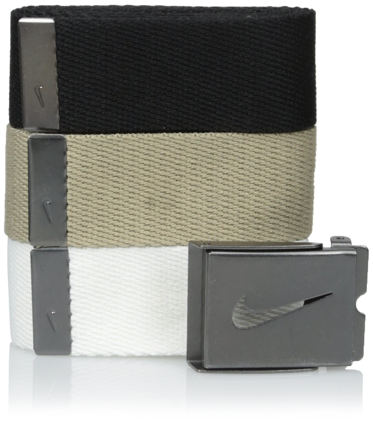 Nike Men's 3 Pack Web Belt, White/Khaki/Black, One Size