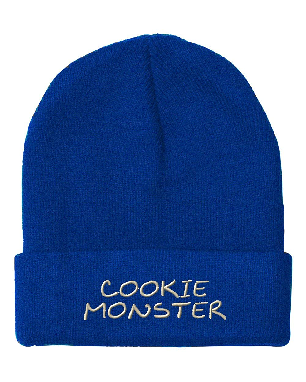 ca002d89e3c Amazon.com  Speedy Pros Cookie Monster Embroidered Unisex Adult Acrylic  Beanie Winter Hat - Black