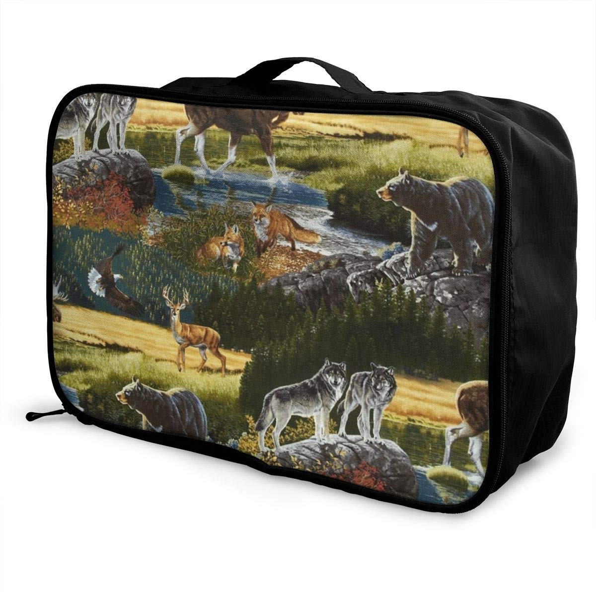 Mountain Wildlife Nature Bear Moose Travel Lightweight Waterproof Foldable Storage Carry Luggage Duffle Tote Bag Large Capacity In Trolley Handle Bags 6x11x15 Inch