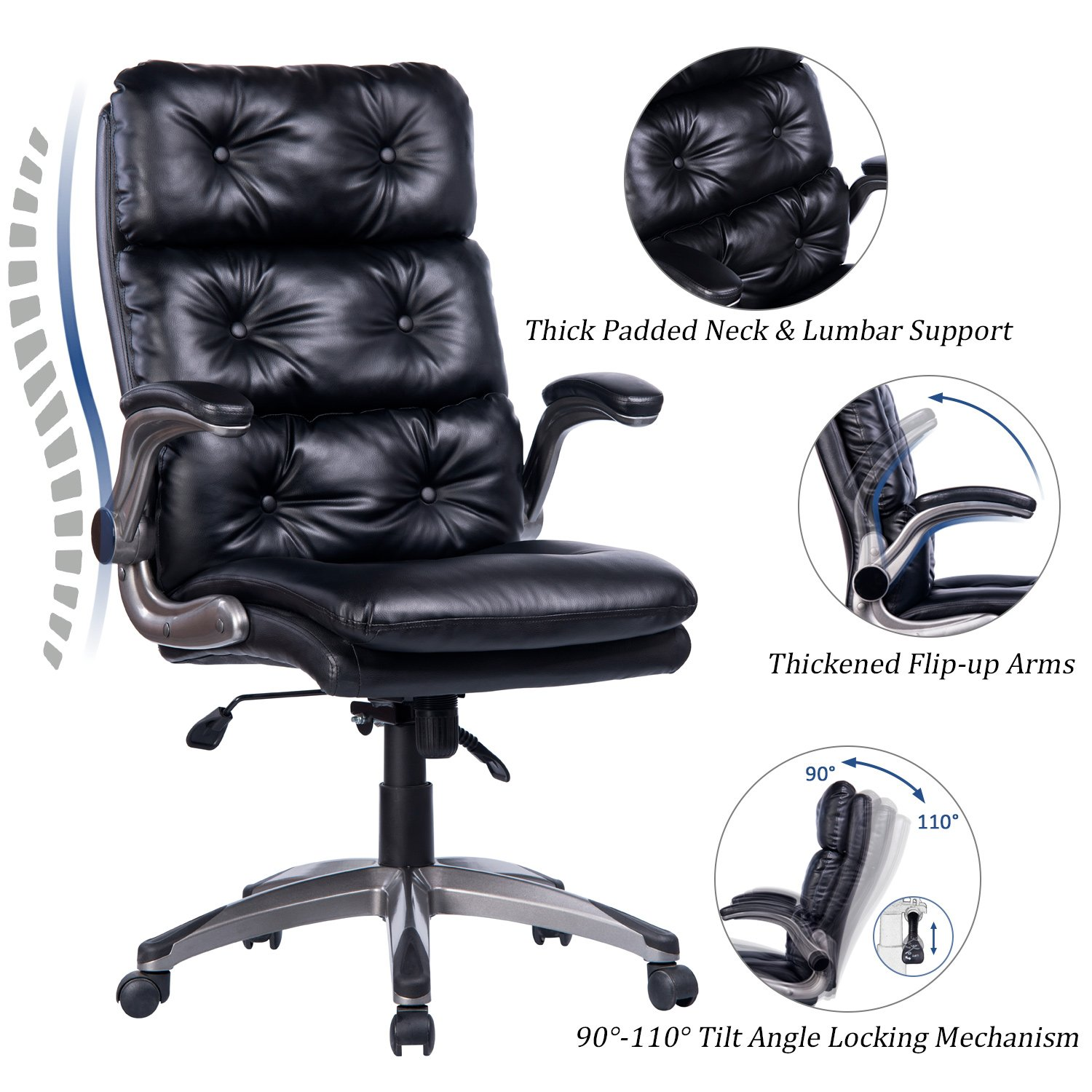 VANBOW High Back Office Chair - Ergonomic Tufted Bonded Leather Computer Desk Executive Chair, Adjustable Flip-Up Arms, Double Padded Backrest Seat Cushion 360 Degree Rotation, Black