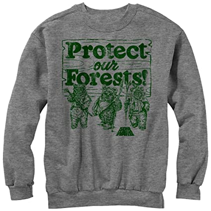 star wars ewok protect our forests mens graphic sweatshirt at amazon men s clothing store