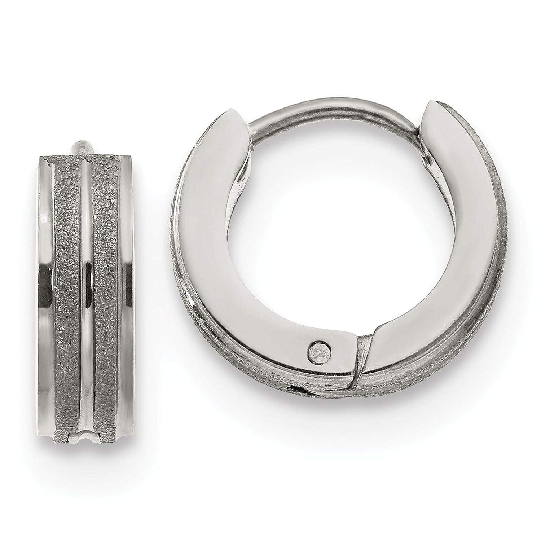 Stainless Steel Polished /& Laser-cut Huggie Hoop Earrings