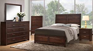 Kings Brand Furniture Aurora 6-Piece Walnut Wood King Size Bedroom Set. Bed, Dresser, Mirror, Chest, 2 Nightstands
