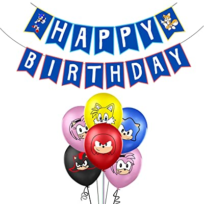 Sonic Balloons Birthday Party Supplies, Birthday Banner Balloon Celebration Set for Baby Kids Shower Party Decorations: Toys & Games