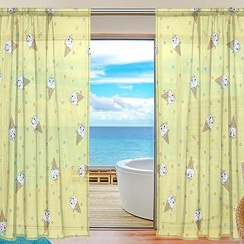 Sheer Voile Fenster Vorhang Einhorn Eis Muster Bedruckt Polyester Material  Stoff Für Schlafzimmer Decor Home Tür