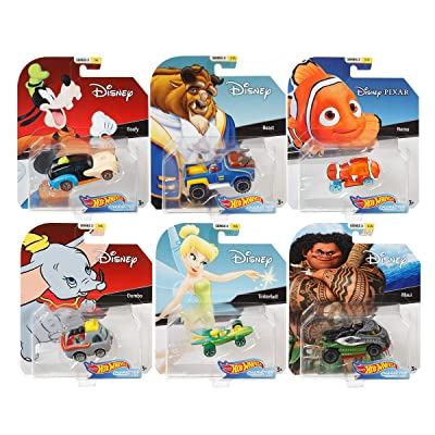 2020 Hot Wheels Set of 6 Disney/Pixar Character Cars 1/64 Collectible Die Cast Toy Cars, with Maui, Goofy, Beast, Dumbo, Tinkerbell, Nemo: Toys & Games