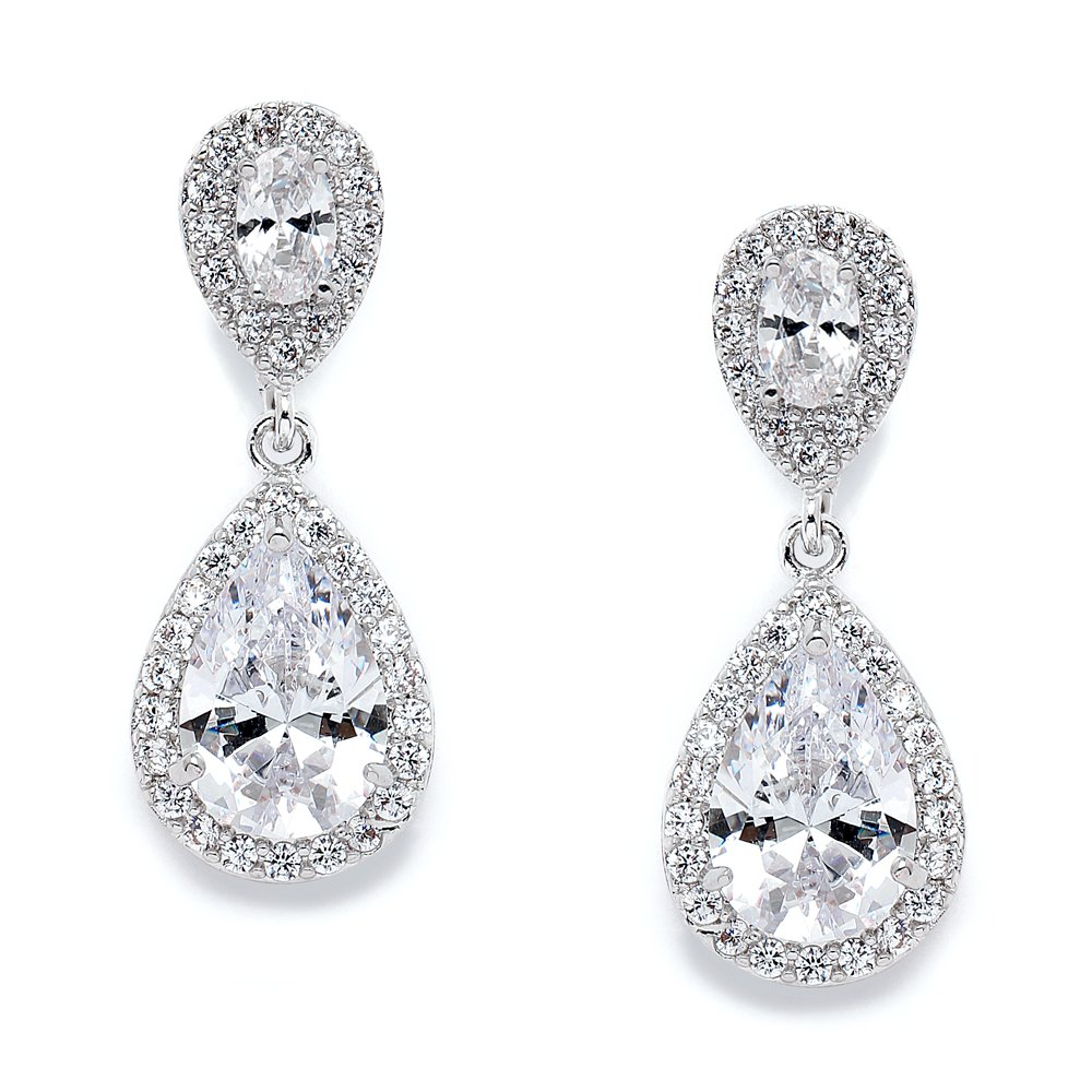 Mariell CZ Teardrop Clip On Wedding Earrings, Dainty Pear-Shaped Cubic Zirconia Dangle Clip-On for Brides 3520EC