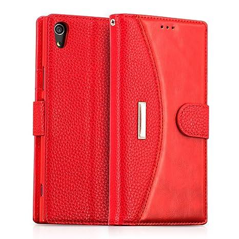 IDOOLS Funda Sony Xperia XA1 Ultra, Funda de Cuero para Teléfono con Ranura para Tarjeta, Cartera Carcasa Piel, Soporte para Teléfono Móvil - Rojo