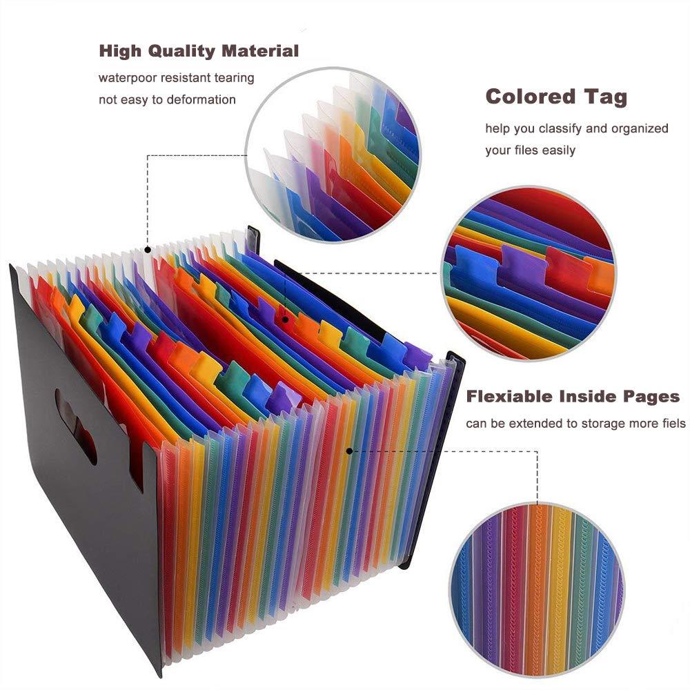 Trieur Accord/éon Extensible 13 Compartiments Organisateur de Bureau avec Fermeture /à L/élastique et Etiquettes Color/ées Porte-documents Type Trieur /à Soufflets Format A4