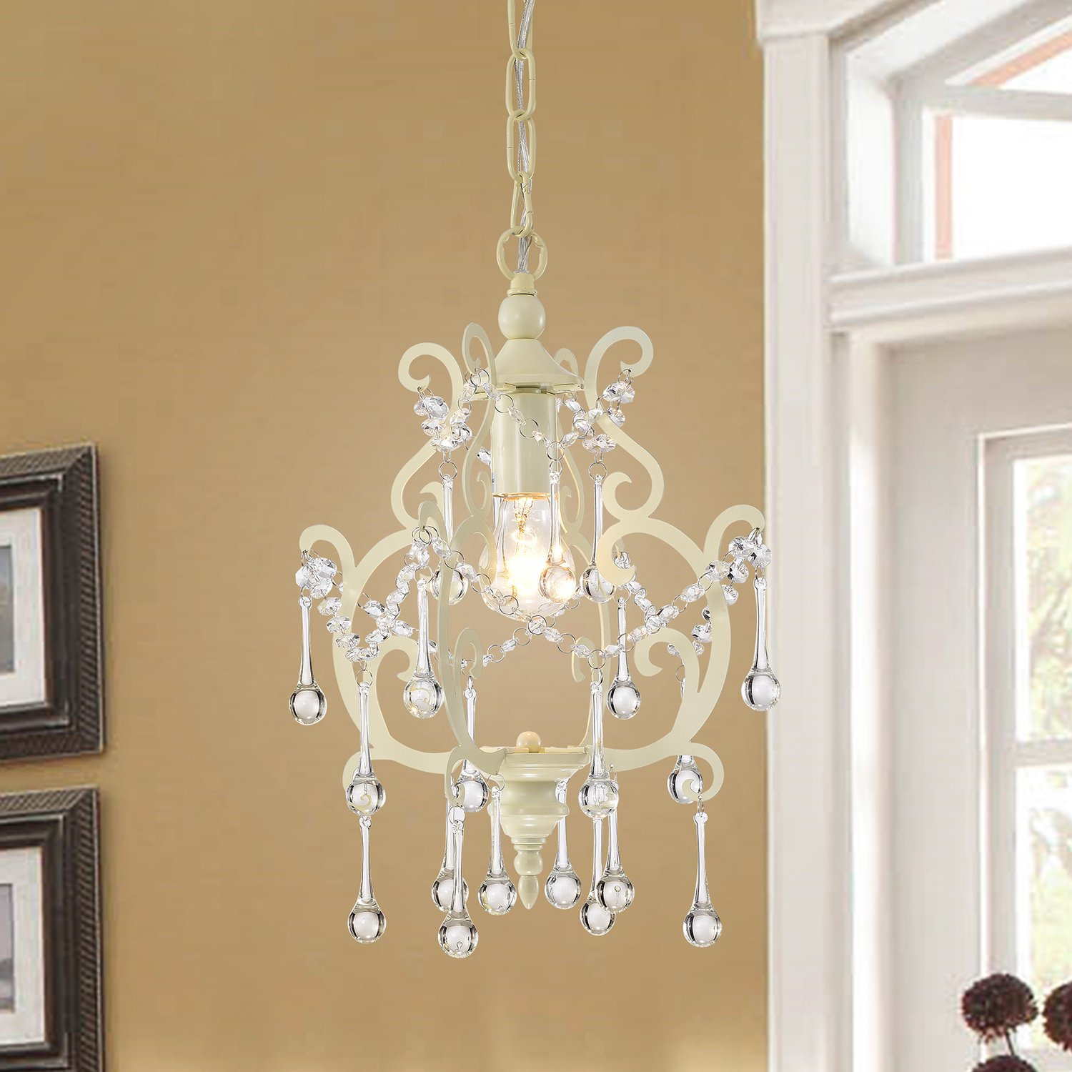Edvivi 1-Light Ivory White Chandelier Pendant Light Fixture with Raindrop Crystals Glam Lighting