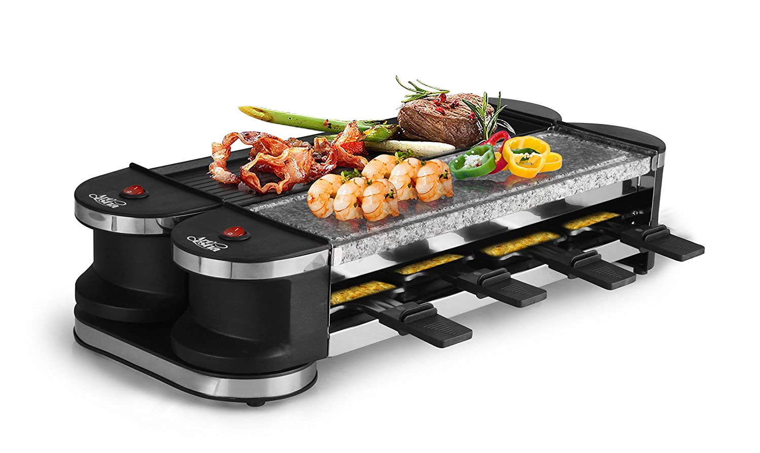 Artestia Electric Dual Raclette Grill with Aluminum Reversible Grill Plate and High Density Granite Grill Stone, Easy Setup in 360 Rotation, Serve whole family Stone and Reversible Aluminum Plate