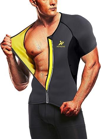 NINGMI Sauna Suit for Men Hot Sweat Suit Neoprene Body Shaper Sauna Shirt Workout Cami Top for Tummy Fat Loss
